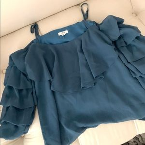 Lucca Blue Cold Shoulder Blouse